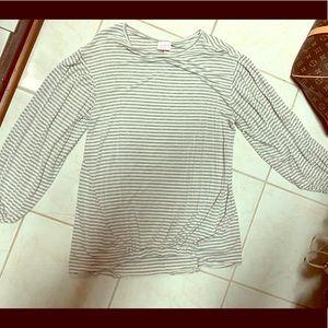 Isabel Maternity grey & white stripe blouse
